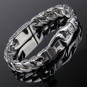 Men's Stainless Steel Polished Silver Heavy Huge C